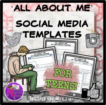 Beginning of the Year: All about me social media profile templates for teens for the first day of school (Instagram, Facebook & Twitter)  The use of social media is very much a part of students' lives in this day and age. Use this to your advantage in your lessons at the beginning of the year and first day of school, by encouraging them to tell you and their peers all about themselves using a format they love and are familiar with: social media!