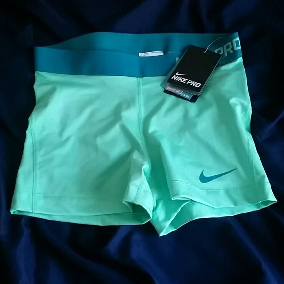 Seafoam & Teal Nike Pros Seafoam green and teal Nike Pros. Never worn. pretty sure they are the 3 in ones! (You can tell in picture 3 how small the length is) Nike Shorts