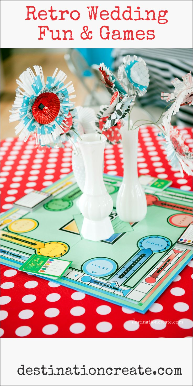 Pin This Retro Wedding just makes me smile! The bride loved games so we designed centerpieces that incorporated thrifted game boards, milkglass & cupcake liner flowers. There's lots more to see at http://destinationcreate.com/diy-wedding/ #wedding