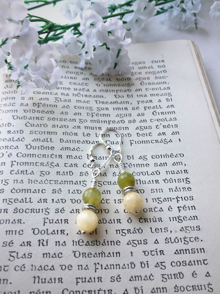 Peridot and cream jade earrings