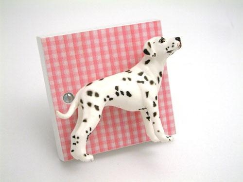 Baby Pink Gingham and Dalmation Dog Girls Light Switch. Handmade in the UK by Candy Queen