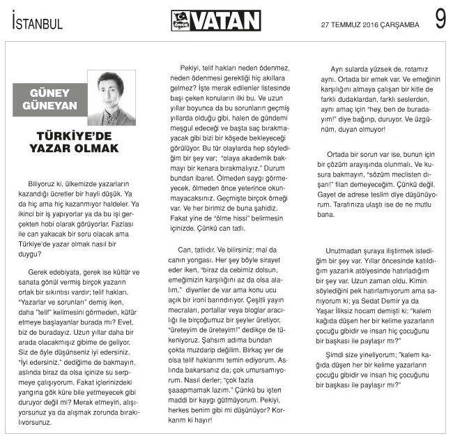 Türkiye'de Yazar Olmak   Güney Güneyan