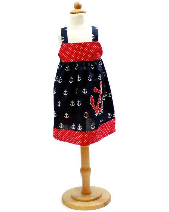 Girl dress in Nautical theme baby dress girls Nautical dress Birthday outfit…