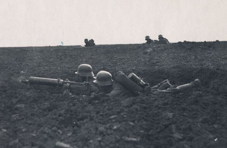 German MG08 in action, World War I