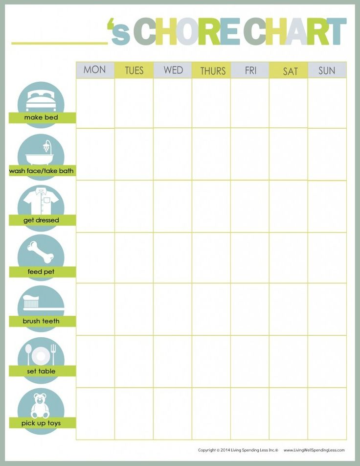 Free printable chore chart perfect for younger kids | Living Well Spending Less