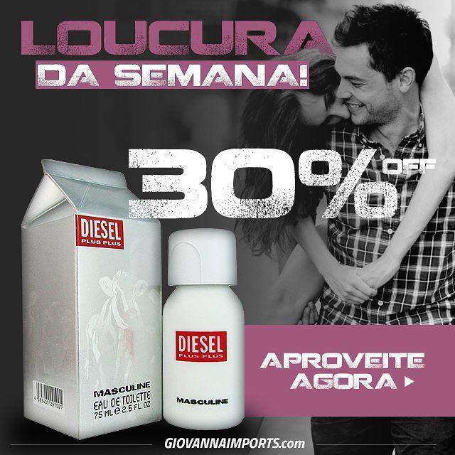 Perfume Diesel Plus Plus 75ml 30%OFF! FRETE GRÁTIS! #Gi  GIOVANNAIMPORTS.com✔  #perfumes #diesel #oferta #promocaododia #promo #promocao #compreaqui #lojavirtual #sp #santos #fretegratis #perfumados #adoro #beleza
