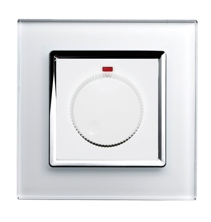 Crystal Rotary Dimmer Switch 1 Gang White CT