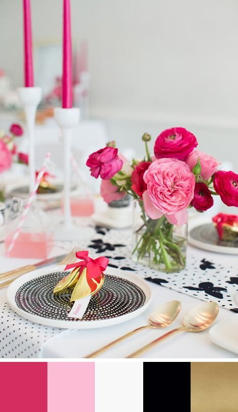 A sophisticated color palette of pink, red, white, black & gold. Source: 100 layer cake #tablescape #colorpalette