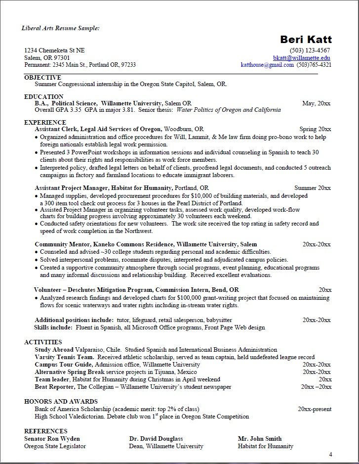 liberal arts resume political science ba seeking summer congressional internship - Sample Resume For Arts And Science Students