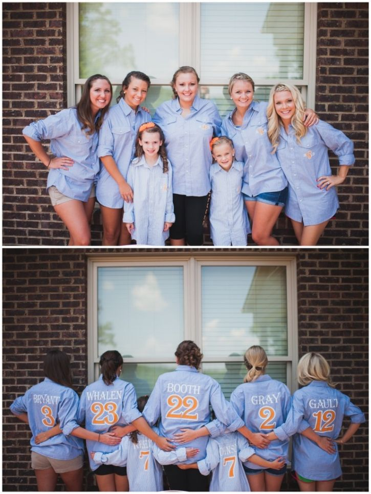 LOVE IT!!!  Bridesmaids shirts with how many years you have known them on the back
