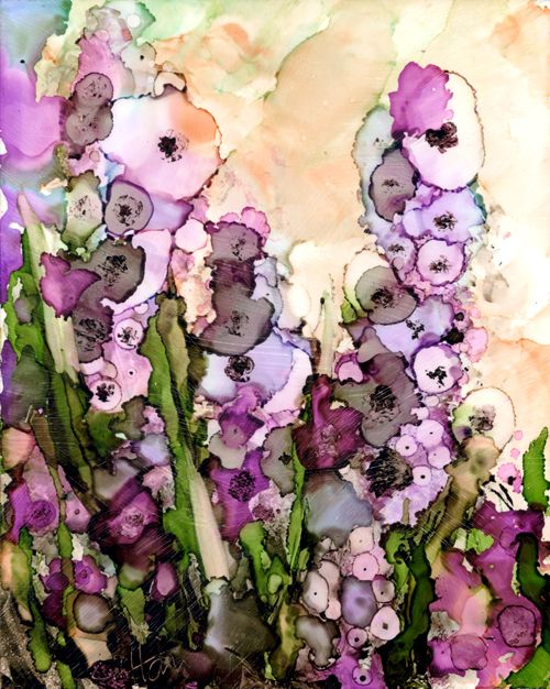 Foxglove alcohol ink painting in purple and pink in a loose abstract style