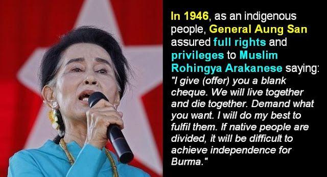 Menagih Janji Bapaknya Suu Kyi Kepada Muslim Rohingya  Republik.inSalah satu akar masalah utama yang menimpa etnis Rohingya adalah hingga sampai saat ini etnis Rohingya tidak diakui sebagai Warga Negara Myanmar (Burma) yang merdeka dari Inggris pada 4 Januari 1948. Padahal saat hendak mendapat kemerdekaan dari Inggris tersebut muslim Rohingya dijanjikan oleh Jenderal Aung San (bapaknyaAung San Suu Kyi) untuk mendapatkan HAK yang sama sebagai warga negara Burma.In 1946 as an indigenous people…