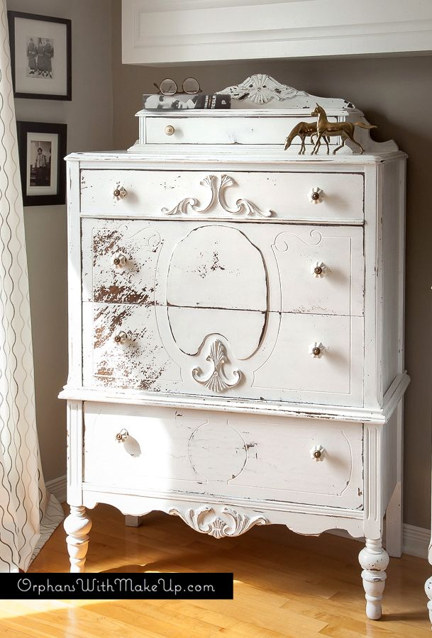 "Shabby Chic Highboy - painted in ""Sturbridge White"" Homestead House Milk Paint"