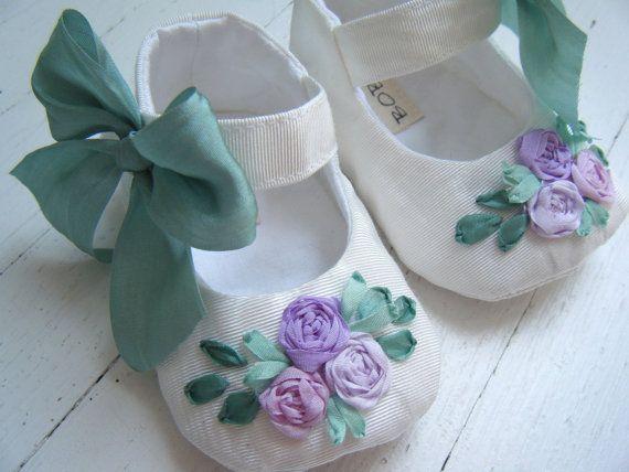 White Taffeta Lavender Flowers 'Summer' Mary Jane Shoe