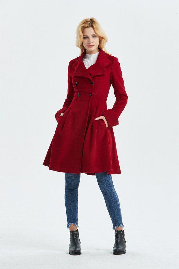 4724cd982d567 Red wool coat, red military coat, wool coat, winter coat, warm coat, fit  and flare coat, high collar