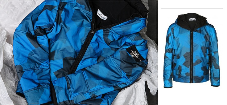 Stone Island's iconic liquid reflective jacket in a high tech, angular, bright blue camouflage fabric. From the highly reflective glass microspheres that make up the outer, to the fleece lining, exclusive white compass badge, and 30th anniversary branding on the inner pocket, this is possibly the finest Stone Island jacket