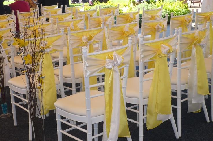 Yellow White Wedding Chair Sashes