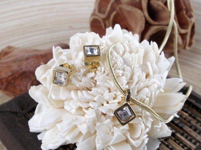 Komplet biżuterii kwadratowe kryształki Silvona