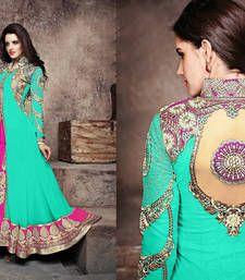 Buy sea green and Pink and Golden embroidered Georgette semi stitched salwar with dupatta anarkali-salwar-kameez online