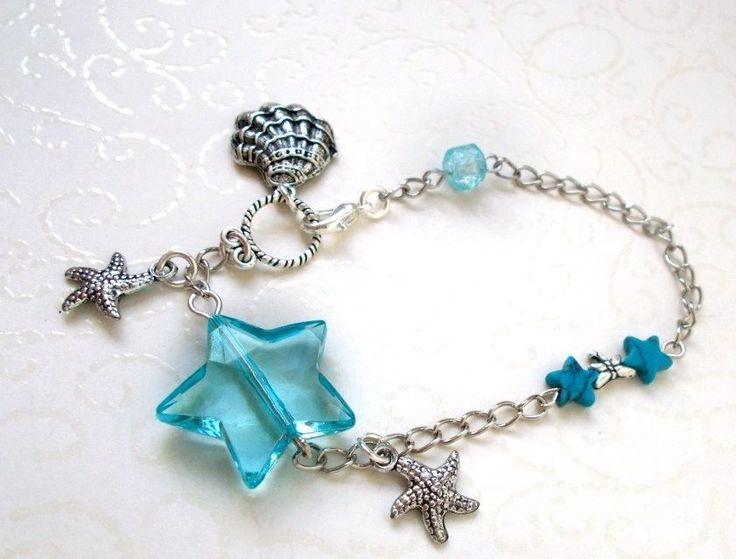Türkis Blaue Muschel Seestern Sommer Must Have-Fußkette/Fee-Elfe bis 21 cm