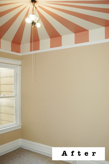 a circus effect with Benjamin Moore tender pink..would be SO cute for a future little one