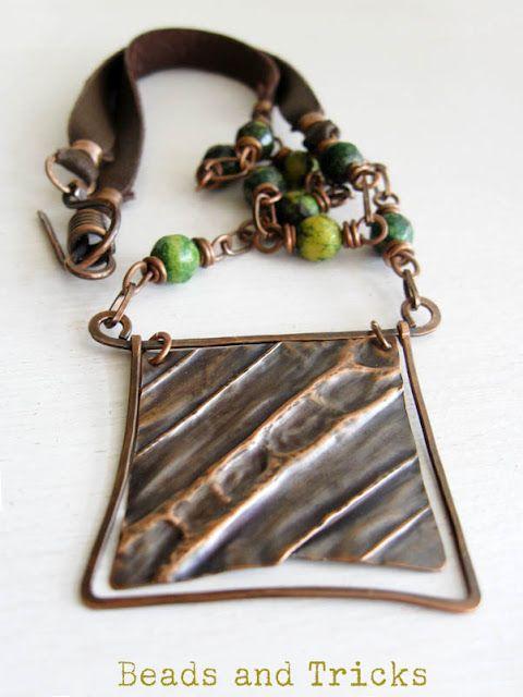 Handmade Jewelry . frame rame, pelle riciclata tagliata a mano, crisocolla . beadsandtricks.blogspot.com