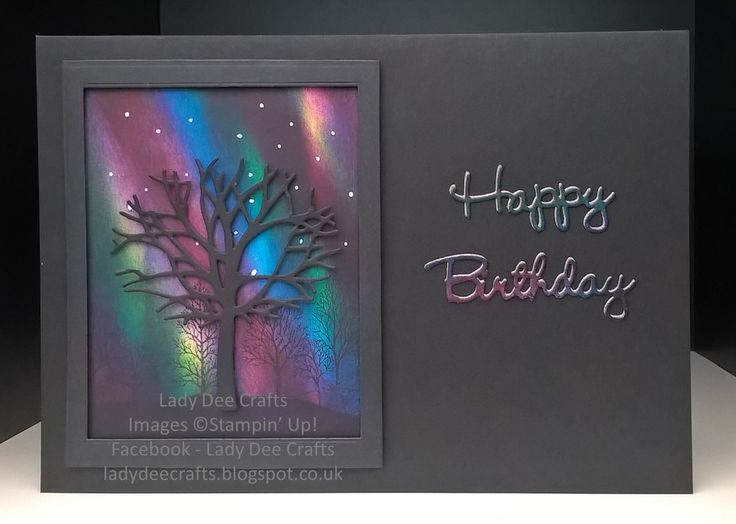 northern lights card stampin up This is my first attempt at sponging a 'Northern Lights' background. I used the Thoughtful Branches bundle and the Lovely as a Tree stamp set from Stampin' Up!