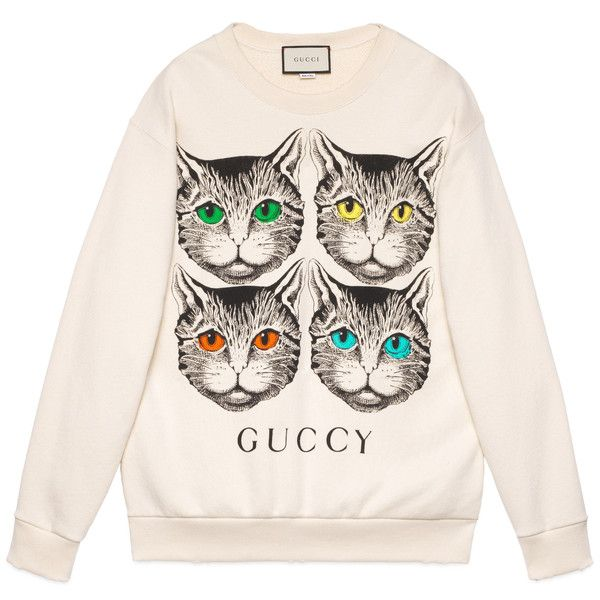 b4a3eda2a0c7 Gucci Mystic Cat Print Sweatshirt ($1,105) ❤ liked on Polyvore featuring  tops, hoodies, sweatshirts, ready-to-wear, sweatshirts & t-shirts, women,  ...