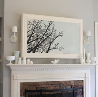 Wall Mounted Tv Disguise By Framing It And Using A Canvas Art Piece To Pop In And Out Over Tv