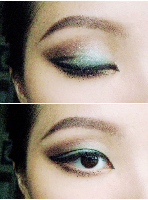 Add a little black eyeliner in the crease, and in the inner corner. - Eye makeup for Asian eyes