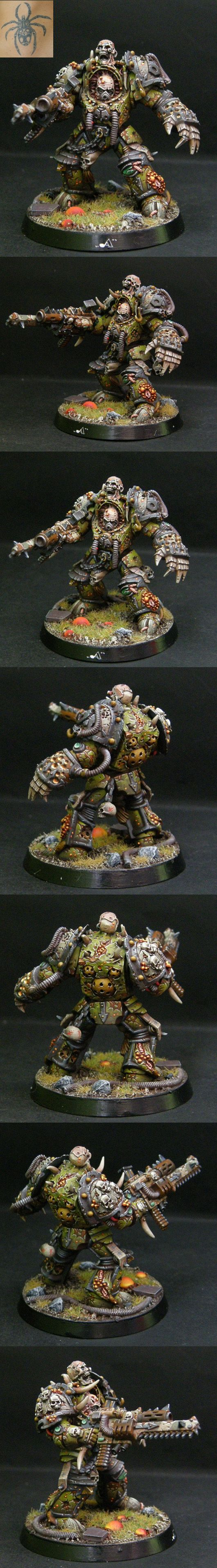"""Death Guard Terminator.The Death Guard are one of the Traitor Legions of Chaos Space Marines. They worship and devote themselves exclusively to the Chaos God Nurgle and as a result of his mutational """"gifts"""" they have become Plague Marines; Astartes who are eternally rotting away within their Power Armour and infected with every known form of disease and decay."""