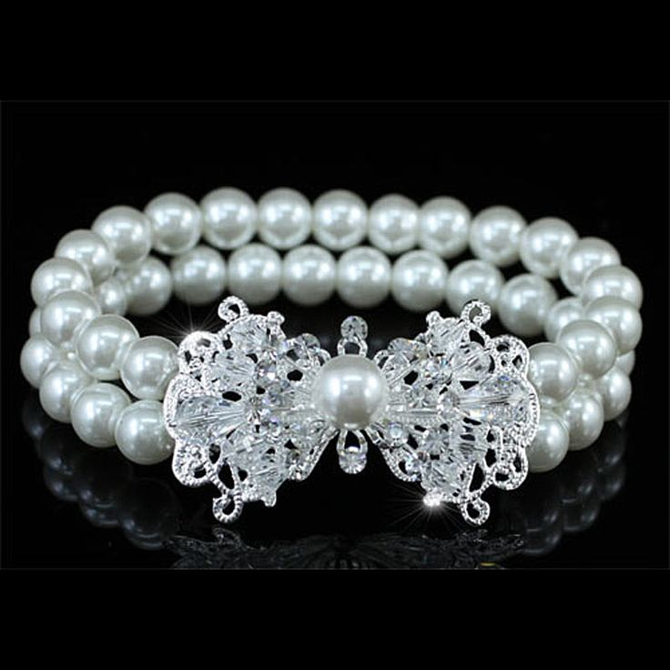 Bridesmaid Bridal White Simulated Pearl Bracelet use Austrian Crystal CB061