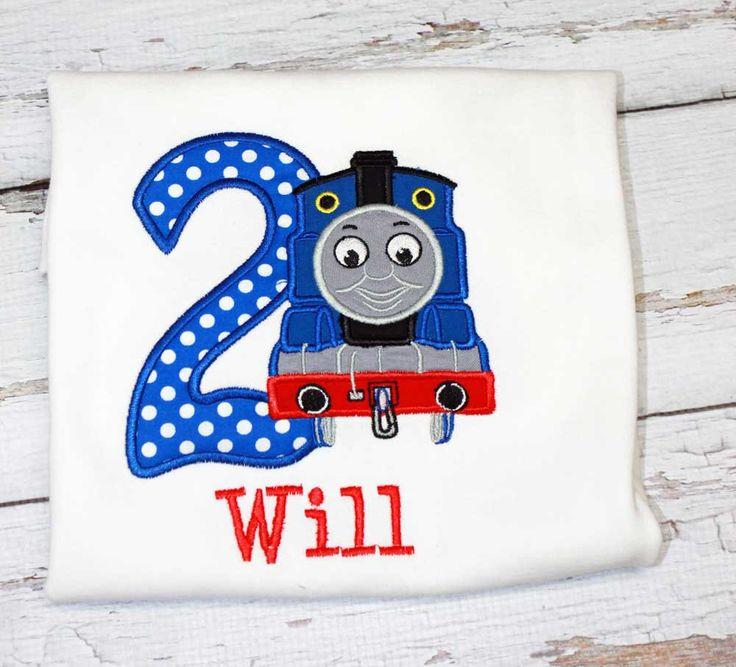 Thomas Train Birthday Shirt,Thomas Train Birthday Outfit,Thomas Birthday Hat,Applique Embroidered Shirt Bodysuit Hat by TiptopKidsTees on Etsy https://www.etsy.com/listing/242406337/thomas-train-birthday-shirtthomas-train