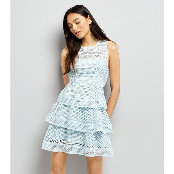 New Look Pale Blue Premium Tiered Lace Dress (76 AUD) ❤ liked on Polyvore featuring dresses, pale blue, petite dresses, pale blue dresses, new look dresses, formal dresses and formal wear dresses