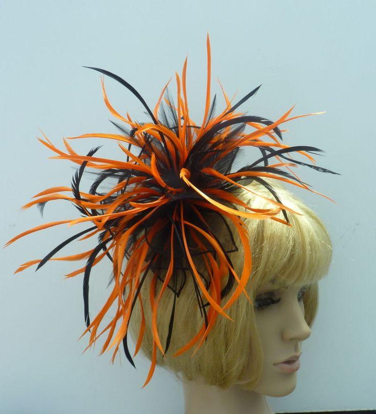Large Black & Deep Bright Orange Chiffon Feather Fascinator Wedding Hat Races   EBFAS-006 £30 free pp