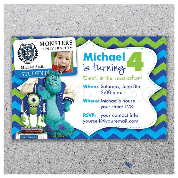 MONSTERS UNIVERSITY / Party invitation / Personalized / Digital Printable Art with photo