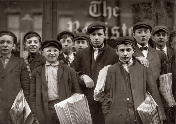 """High school route boys for the New Haven Register"" by  Lewis Hine. March 1909. New Haven, Connecticut."