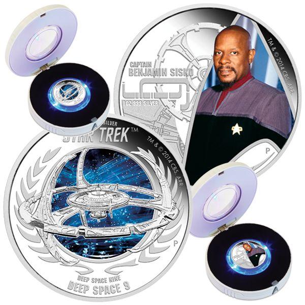 TUVALU 2015  2 x 1 $ Dollar - Star Trek - Set (3.) - Deep Space 9 + Captain Sisko - 2 x 1 Oz. Silver Proof Coin in Color - in Single Boxes. TUVALU 2015  2 x 1 $ Dollar - Star Trek - Satz (3.) - Deep Space 9 + Captain Sisko - 2 x 1 Oz. Silber Farbe in Polierter Platte - Lieferung in Einzelboxen.