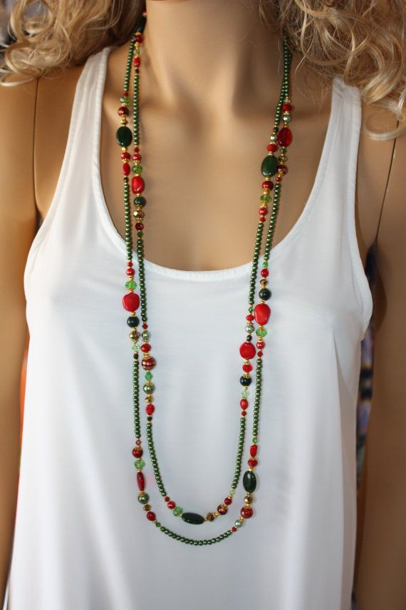 Long Bright Green and Red Beaded Necklace Multi by MonroeJewelry, $49.90