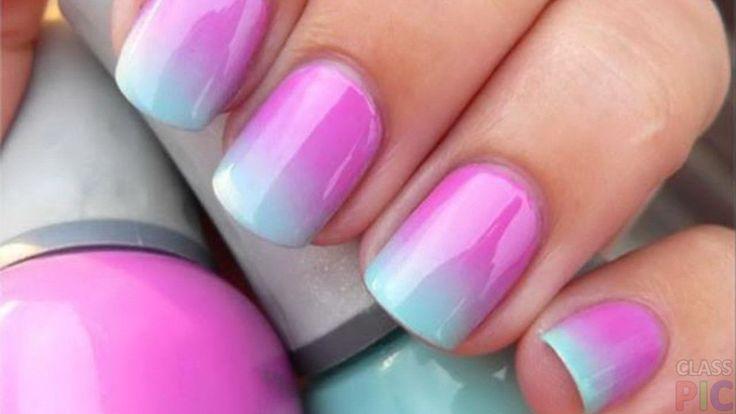 Радужный дизайн коротких ногтей