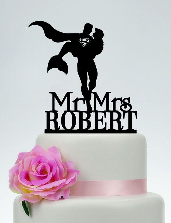 Superman Wedding Cake Topper,Mr and Mrs Cake Topper With last name,Superman and little mermaid Custom Cake Topper,Super Hero Wedding C174