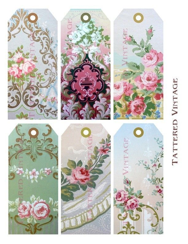 Victorian Wallpaper Tags Digital Download no12 by tatteredvintage