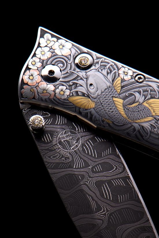 Koi Fish knife hand crafted at the William Henry Studio. The finish and assembly work is completed at the studio in Oregon and all blade grinding is done by master blade grinder Kikuo Matsuda in Japan. Each piece will take over 7 months to produce, involving over 30 artisans.