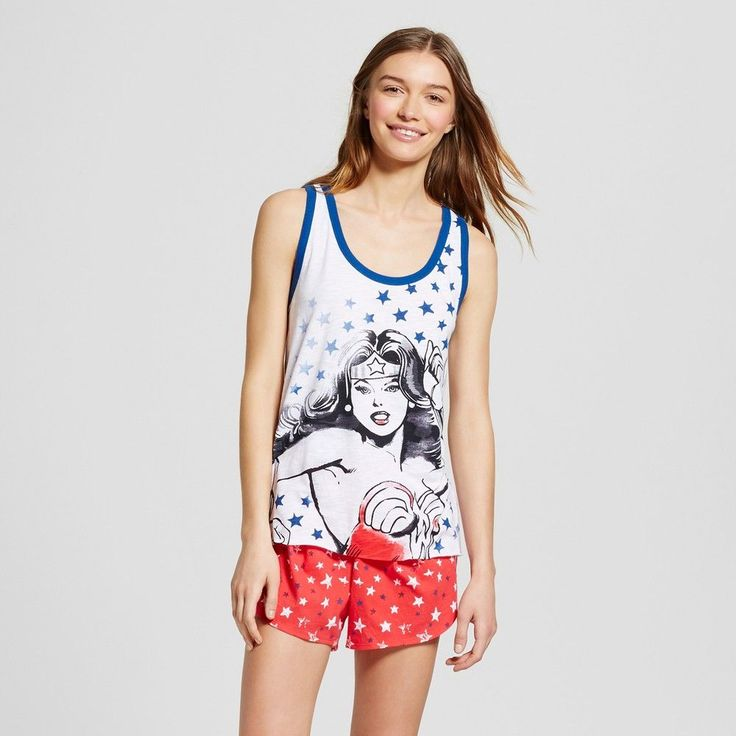 Women's Wonder Woman Pajamas Tank/Boxer Set - White/Red L