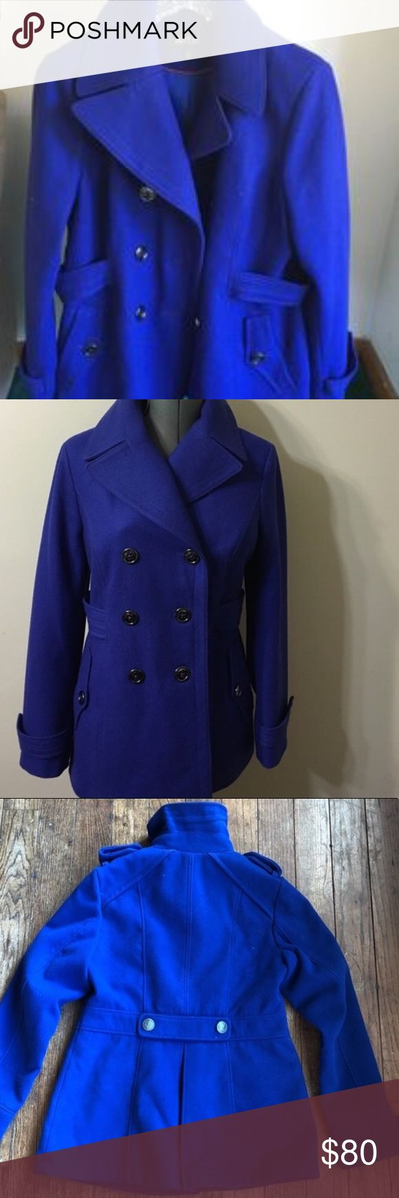 Midnight blue pea coat Aides women's blue pea coat with metal nautical buttons -accents like new mint condition jacket long sleeve sweater cold weather packable chic vintage inspired elegant casual business attire office going out formal dress dressy overcoat great quality material and very flattering cut & design will fit a variety of body types fits around your curves and shapes gives great silhouette wear over jeans and a tee or a gown with heels. For any event classic staple closet piece…