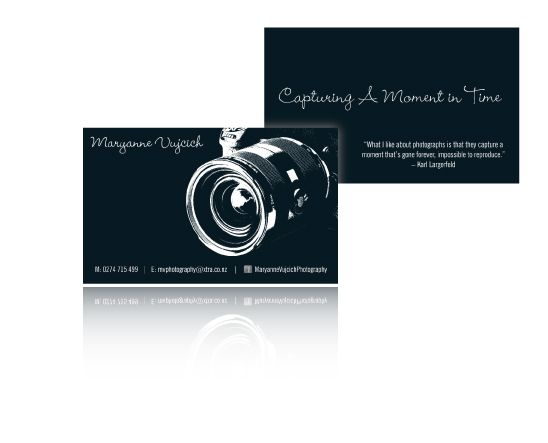 Maryanne's Photography Cards using greyscale .tif files coloured rich black in inDesgn