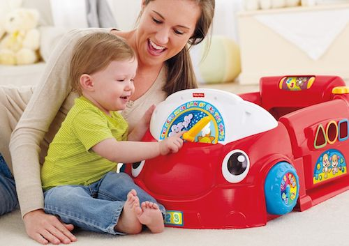 This adorable play car helps babies learn to sit up, crawl, pull up, stand & move! #baby #tech