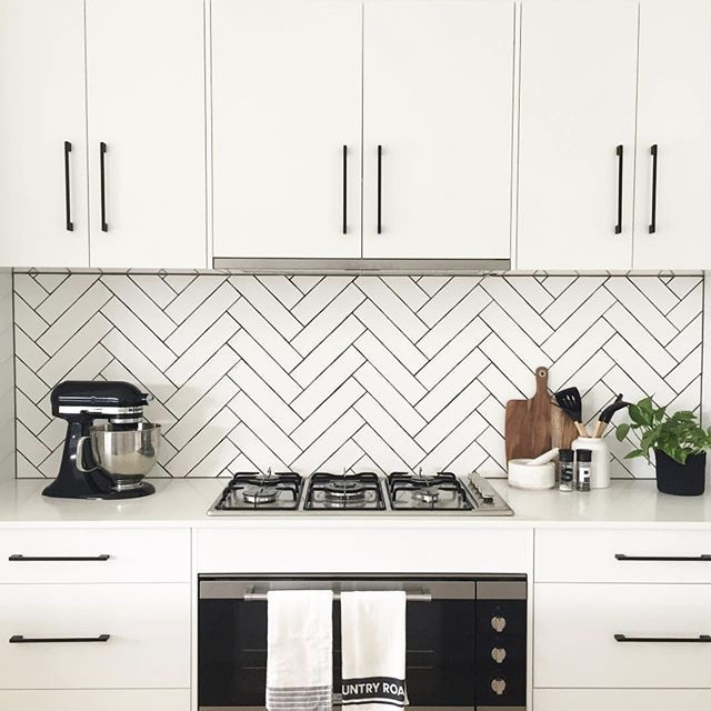 This Herringbone Splash Back With Beaumont Tiles Subway Has Us Swooning Discover So Kitchen Splashback Tiles Kitchen Splashback Kitchen Backsplash Designs