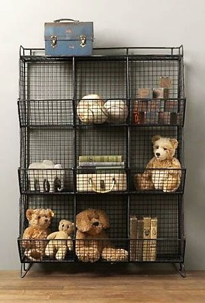 stacking wire bins for stuffed animal display