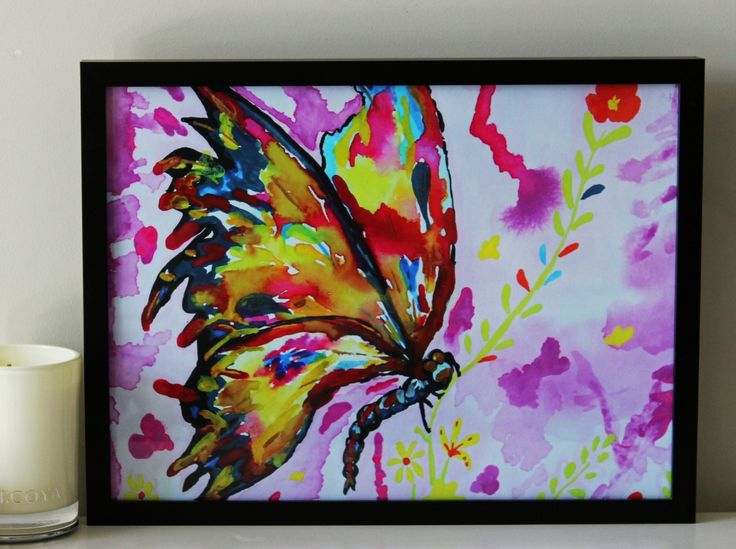 Rainbow Butterfly in gouache colours/watercolors. By- Aditi Sengupta.